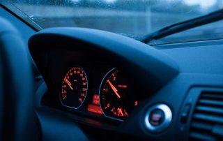 Car speedometer of a motorist about to receive a moving radar georgia speeding ticket